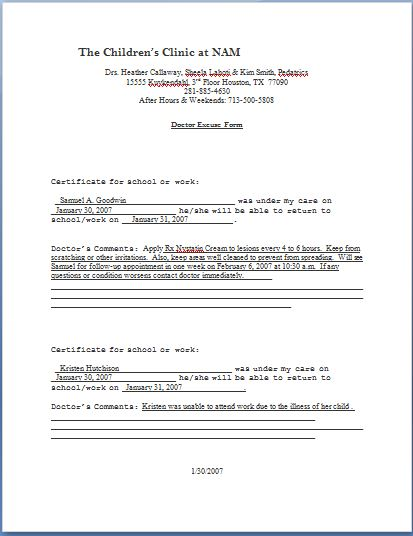 Return To Work Note Doctor Work Release Note Doctor Note Templates